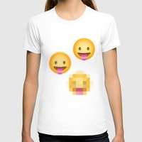 emoji T-shirts featuring Pixelated Emoji by Krista Jaworski