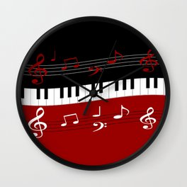 Stylish red. black and white piano keys and musical notes Wall Clock