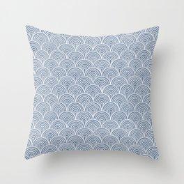 Denim Waves Throw Pillow