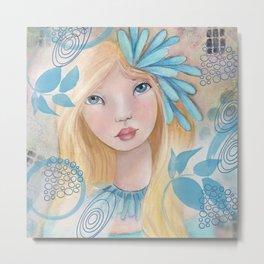 Beautiful Girl in Turquoise Metal Print