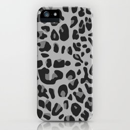 Chic abstract black gray jaguar animal print iPhone Case