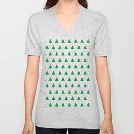 seamless green christmas tree pattern Unisex V-Neck
