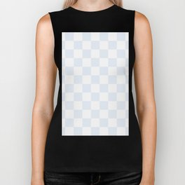 Checkered - White and Pastel Blue Biker Tank