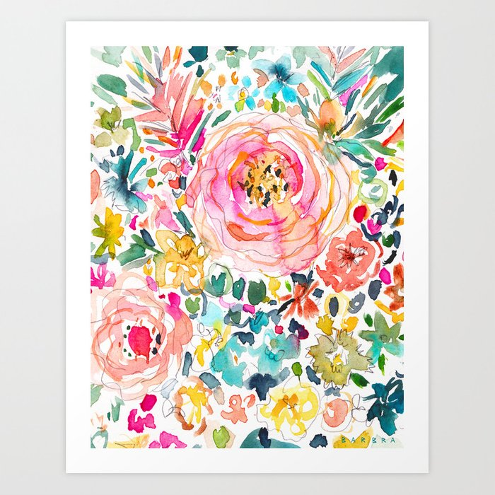 DON'T STRESS Colorful Floral Art Print