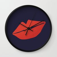 kiss Wall Clocks featuring Kiss by Leah Flores
