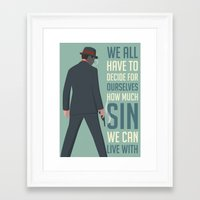 boardwalk empire Framed Art Prints featuring Boardwalk Empire 'Sin' by JDGC