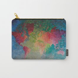 Recycled Color World Map Carry-All Pouch
