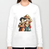 luffy Long Sleeve T-shirts featuring Monkey D. Luffy and Son Goku by The Big Duo