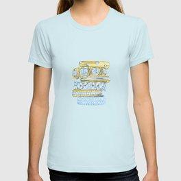 Golden Rings on Blue T-shirt