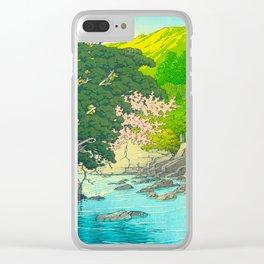 Vintage Japanese Woodblock Print Beautiful Water Creek Grey Rocks Green Trees Clear iPhone Case