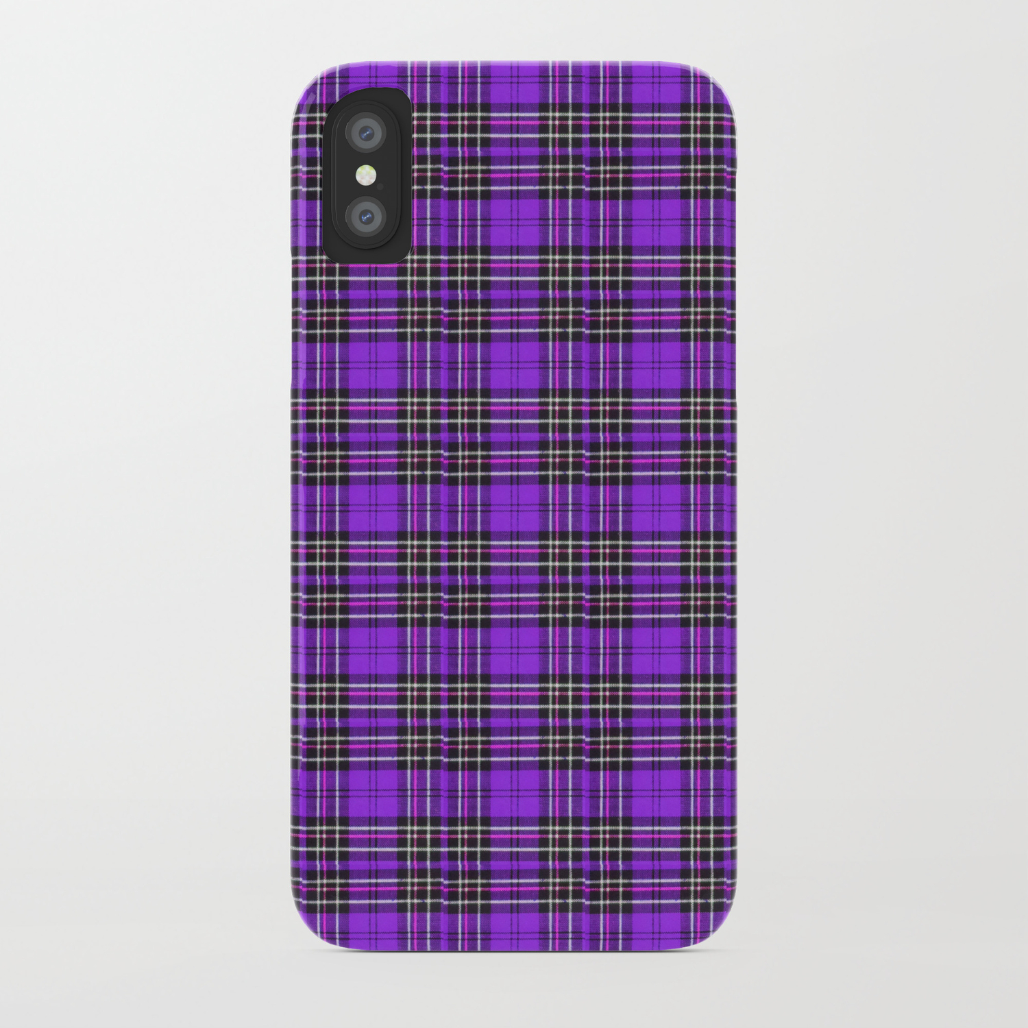 the latest 3a1ce 46367 Lunchbox Purple Plaid iPhone Case