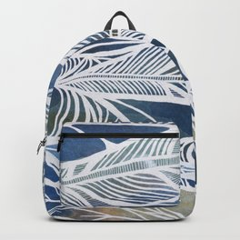 Feathery Design in Blues Backpack