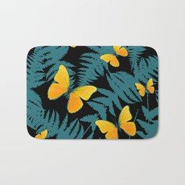Fern Fronds With Yellow Butterflies & Black Color Art Bath Mat