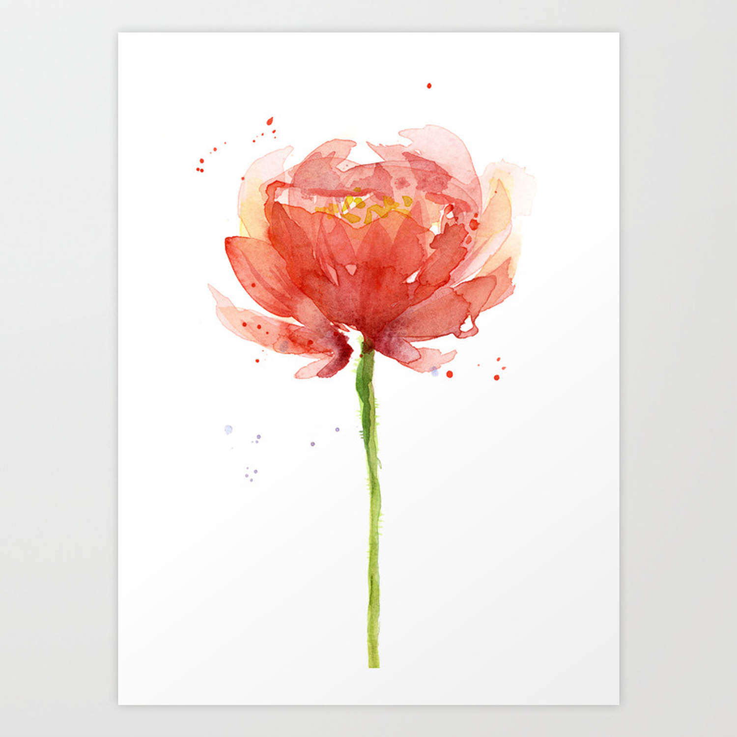 Red Flower Watercolor Floral Painting Art Print By Olechka Society6