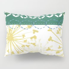 Boho dandelion green and yellow Pillow Sham