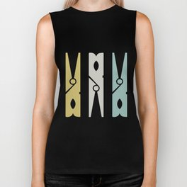 Turquoise and Gold Clothespins Biker Tank