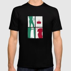 #theSliceSerie: It's all about Grass Green and Poppy Red Mens Fitted Tee Black MEDIUM
