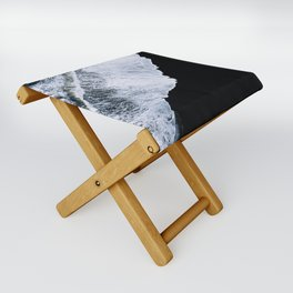 Waves crashing on a black sand beach – minimalist Landscape Photography Folding Stool