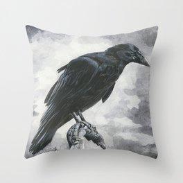 Moody Raven Throw Pillow
