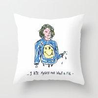 kurt cobain Throw Pillows featuring Cut Cobain / Colored by Nü Köza