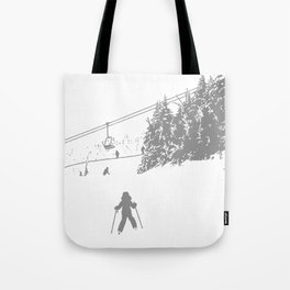 Little Skier - Grey Tote Bag