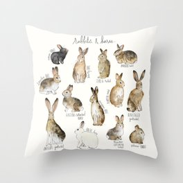 Rabbits & Hares Throw Pillow