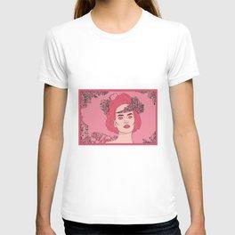 Pink Flower Girl Digital Drawing T-shirt