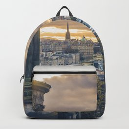 Edinburgh city and castle from Calton hill and Stewart monument Backpack