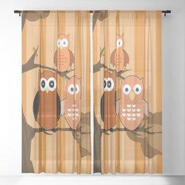 Orange Owls Sheer Curtain