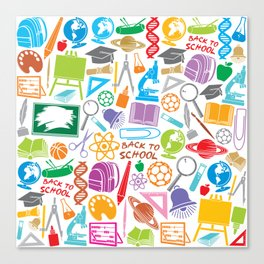 education and school icons background (seamless pattern) Canvas Print