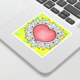 Watercolor Doodle Art | Heart Sticker
