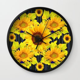Yellow Sunflowers Pattern in Black-Blue Wall Clock
