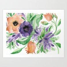 Spring Bouquet - Tulips & Anemones Art Print