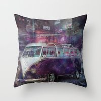 volkswagon Throw Pillows featuring Night time Camper by yairi