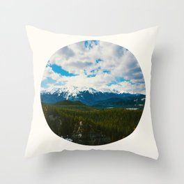 Mid Century Modern Round Circle Photo Arctic Landscape In The Summer Pine Forest Snow Mountains Throw Pillow