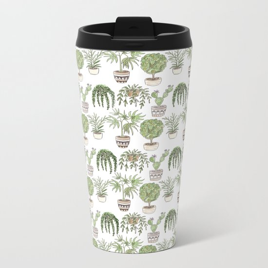 Watercolor cartoon sketch house plants in pots Metal Travel Mug