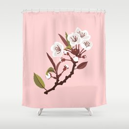 Spring Blossoms on Pink Shower Curtain