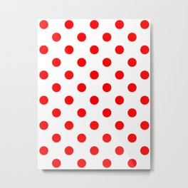 Polka Dots - Red on White Metal Print