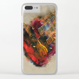 jimmy page's electric guitar, guitar wall art, studio decor, music room decor, gift for guitarist Clear iPhone Case
