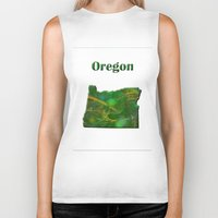 oregon Biker Tanks featuring Oregon Map by Roger Wedegis