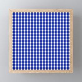 Cobalt Blue and White Gingham Check Plaid Squared Pattern Framed Mini Art Print