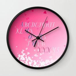 Amour Alphabet Love Rose Pink Glitter Design Wall Clock