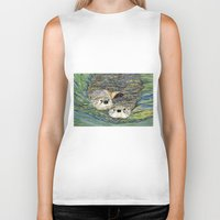 otters Biker Tanks featuring Pair of Otters by Sandra Dean Wilson