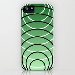 White and Black Rings on Green Background iPhone Case