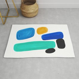 Mid Century Vintage Abstract Minimalist Colorful Pop Art Teal Blue Turquoise Yellow Pattern Rug