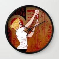 true blood Wall Clocks featuring True Blood Nouveau by Nana Leonti