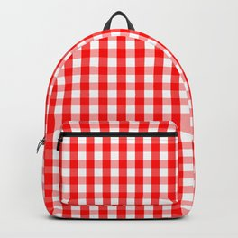 Large Australian Flag Red and White Gingham Check Backpack