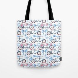 Vintage watercolor pink blue bicycle floral Tote Bag