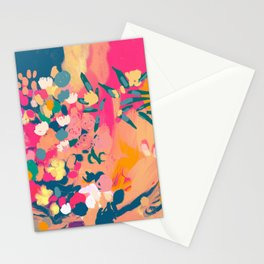 Abstract florals- pink, blue, orange  Stationery Cards