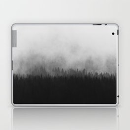 Minimalist Modern Black And white photography Landscape Misty Black Pine Forest Watercolor Effect Sp Laptop & iPad Skin
